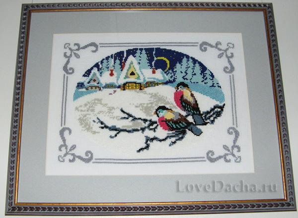 Рхема вышивки крестом снегири