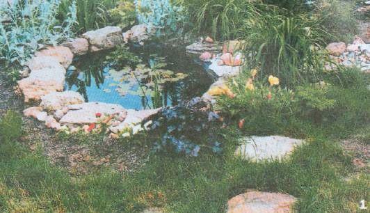 Декоративный пруд, в который с альпийской горки «стекает» сухой ручей