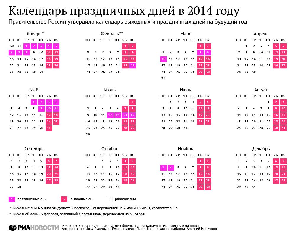 Календарь выходных дни 2014